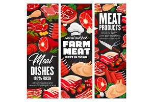 Butcher shop, farm meat vector