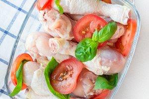 Raw uncooked chicken legs, drumstick