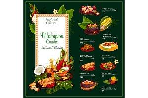 Malaysian cuisine dishes vector menu