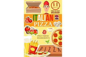Pizza delivery service vector poster