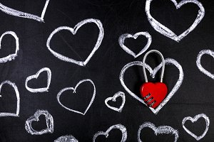 hearts background on blackboard