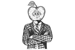 Apple head man engraving vector