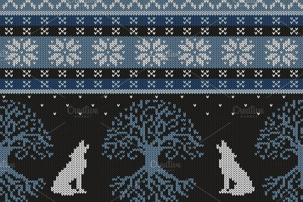 Winter night Tree of life and wolves