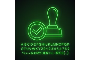Stamp approved neon light icon
