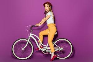 beautiful stylish asian girl riding