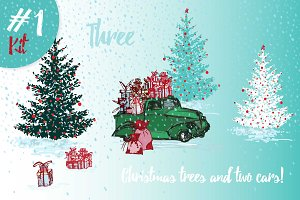 70% OFF set of sketch Christmas tree