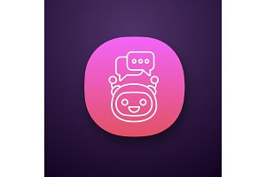 Chatbot with speech bubbles app icon