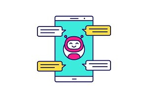 Chatbot with speech bubbles icon