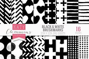 Black & White brush marks paper pack