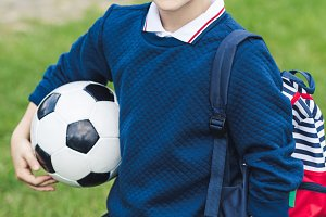 cute kid with soccer ball with socce
