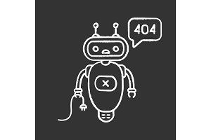 Not found error chatbot chalk icon