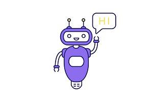 Chatbot saying hi color icon