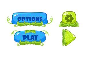 Cute green and blue glossy buttons