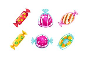 Colorful glossy candies set, sweets