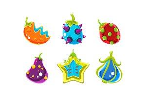Colorful fantasy glossy fruits set