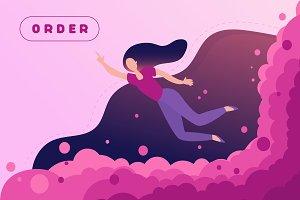 Flying woman, Online Shopping design