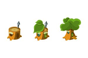 Cute houses in a tree trunks set