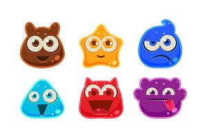 Cute funny colorful jelly monsters