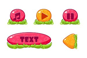 Cute colorful glossy jelly buttons