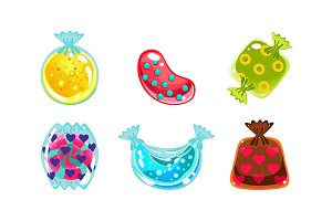 Glossy candies of different shapes