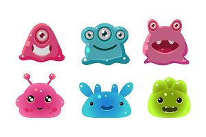 Cute funny colorful glossy aliens