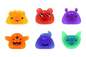 Cute funny colorful jelly animals