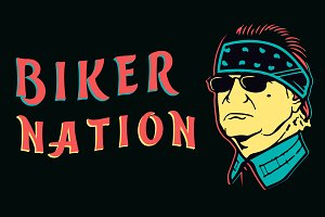 Biker Nation with cartoon men face