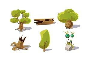 Green trees, stumps, fantastic
