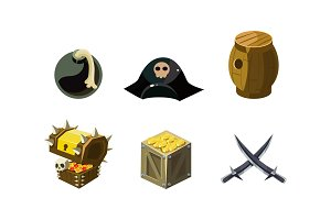 Pirate game elements set, bomb, hat