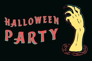 Halloween Party with zombie hand