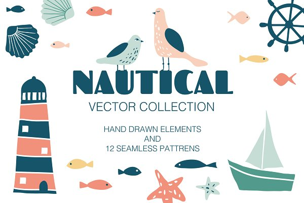 Patterns: LenaNikolaeva - NAUTICAL vector collection