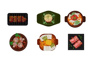 Collection of served food dishes