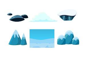 Elements of nature winter landscape