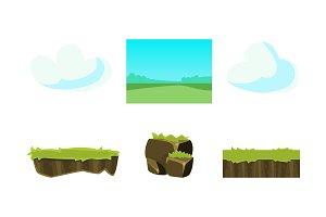 Elements of nature summer landscape