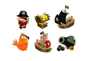 Pirate game elements set, user