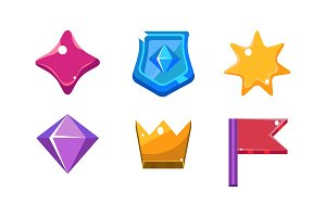 Colorful bright jelly shapes set