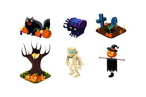 Halloween related objects and