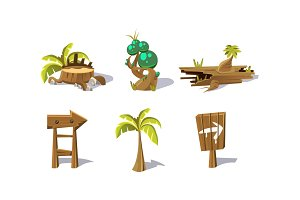 Palm tree, wooden signs, fantastic