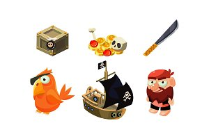 Pirate game elements set, chest