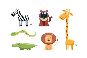 Cute wild African animals set