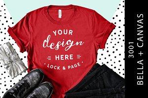 Red Bella Canvas 3001 T-Shirt Mockup