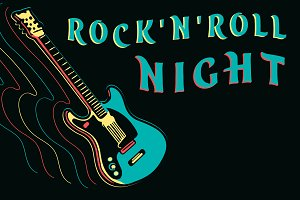 Rock and roll night, neon guitar