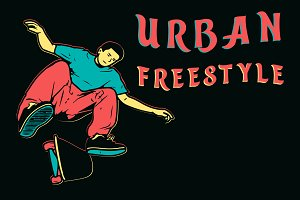 Skater urban freestyle illustration