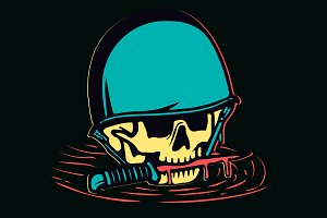 Colorful skull in helmet and a knife