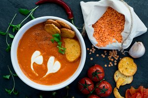 Tomato and red lentil soup.