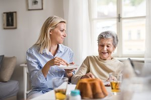 Senior woman in wheelchair with a