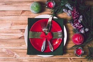 Christmas table setting with