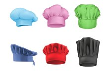 Multicolored chef hats vector icons