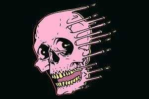 Pink skull design in liquid style