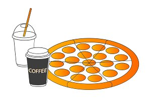 Pizza with soft drink and coffee